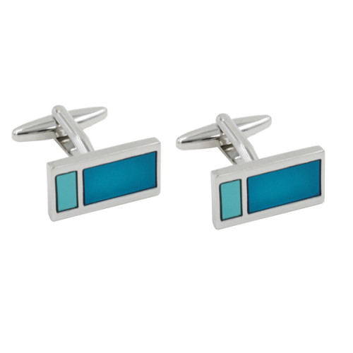 Aqua Rectangle Cufflinks 1