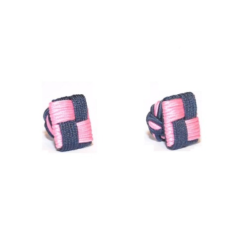 Pink & Navy Blue Square Cufflinks 3