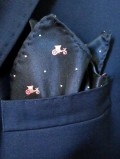 Navy Pink Cart Pocket Square Suit 2