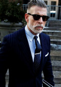 nick-wooster-slim-fit-pinstripe-suit-navy-sunglasses-beard-dotted-tie