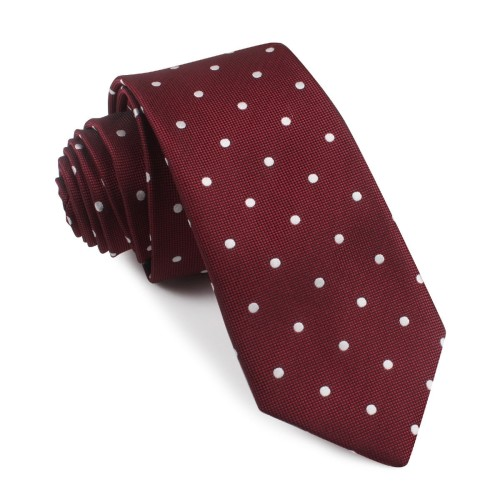 Crimson Red Skinny Polka Dot Tie 1-min
