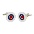 Red Navy Silver Cufflinks