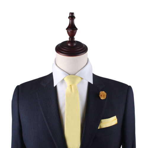 Yellow Skinny Tie and Pocket Square Set for Him