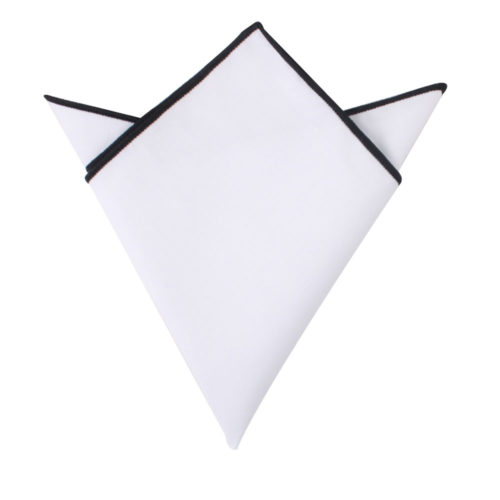 Black Edge White Pocket Square for Groomsmen