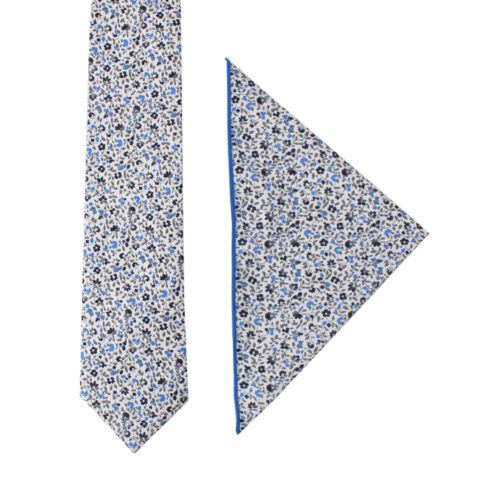 Black Light Blue Leafy Floral Tie & Pocket Square Set Groomsmen Online