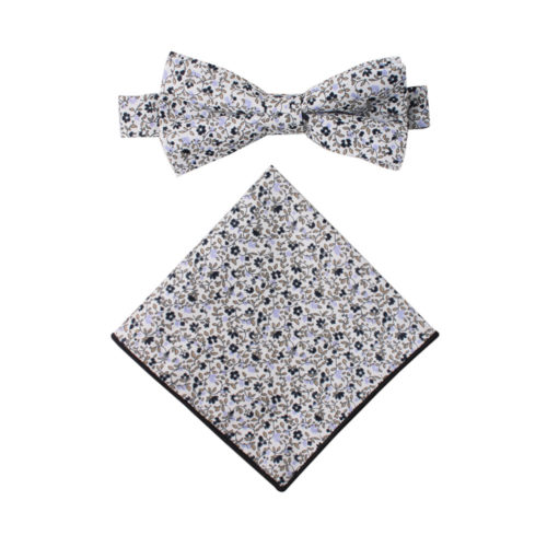 Black Floral Bow Tie and Pocket Square Set
