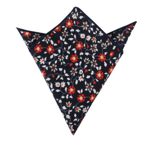 Black Red Amaryllis Floral Pocket Square Wedding