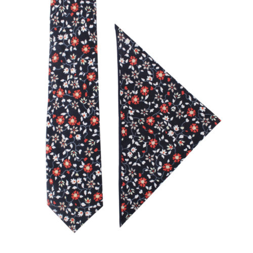 Black Red Amaryllis Floral Tie and Pocket Square Set for Weddings