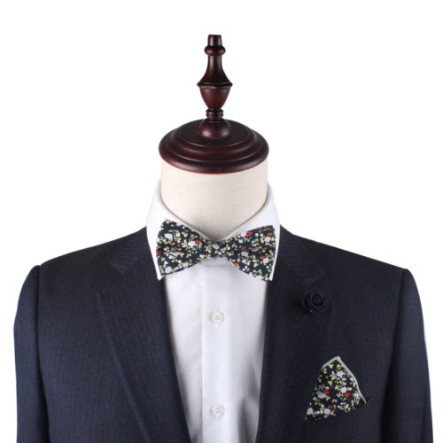Black Red Yellow Multi Floral Bow Tie and Pocket Square Set for Weddings