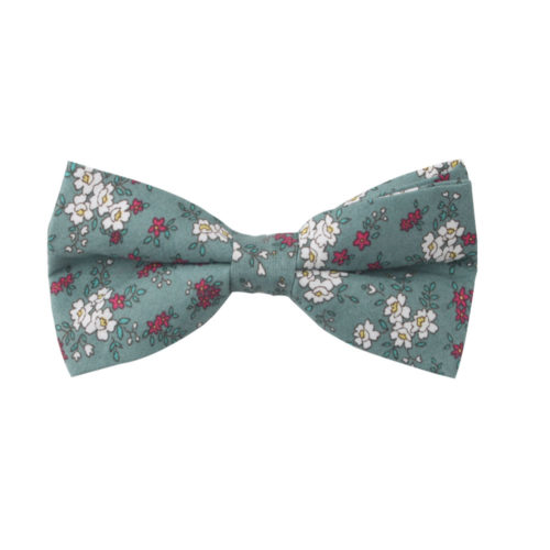 Blue White Pink Floral Bow Ties For Groomsmen