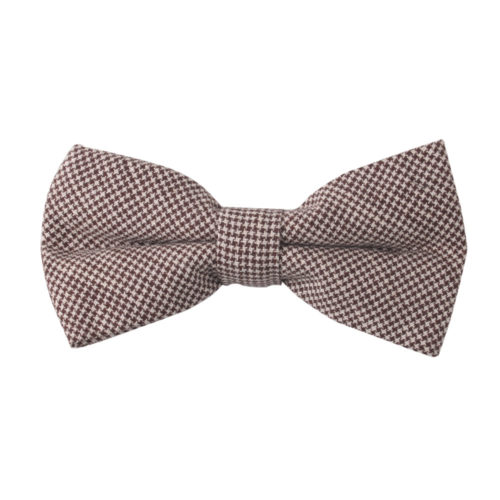 Brown Mini Houndstooth Bow Tie Groomsmen
