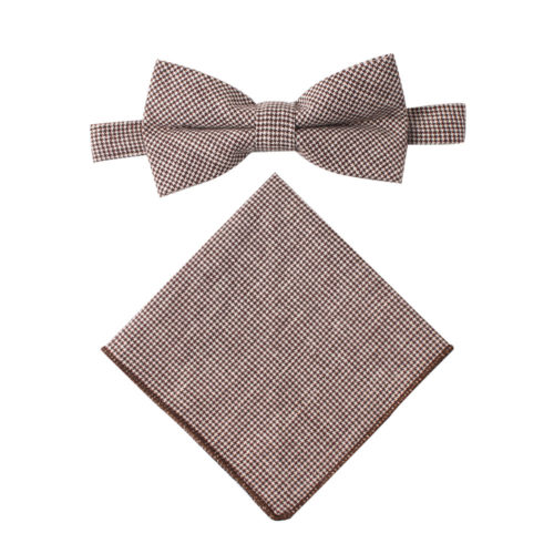 Brown Mini Houndstooth Bow Tie and Pocket Square Set Groomsmen for Wedding