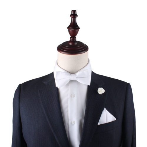 Classic White Bow Tie and Pocket Square Set for Groomsmen
