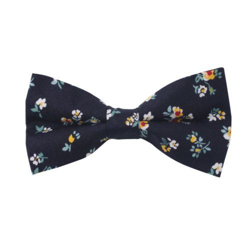 Floral Navy Yellow Bow Tie Groomsmen Online