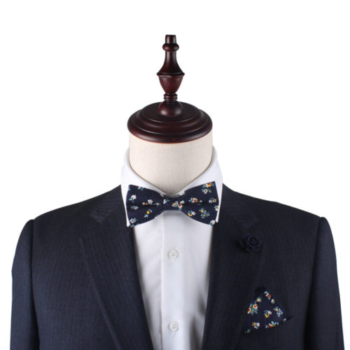 Floral Navy Yellow Bow Tie & Pocket Square Matching Sets Groomsmen