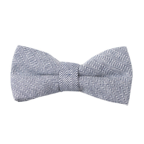 Navy Blue Herringbone Bow Ties for Groomsmen