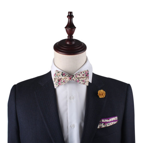 Pastel Pink Rose Floral Bow Tie and Pocket Square Set for Weddings