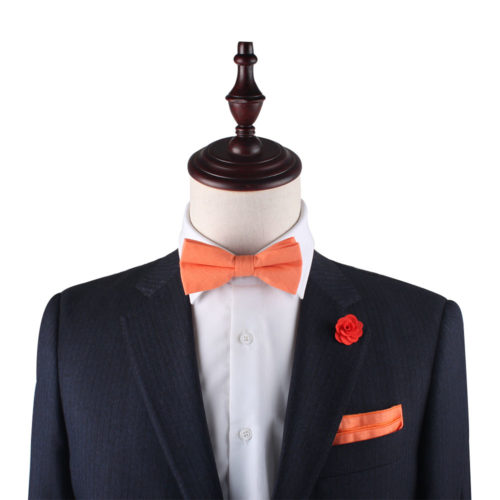 Peach Orange Bow Tie & Pocket Square Set Gifts for Him