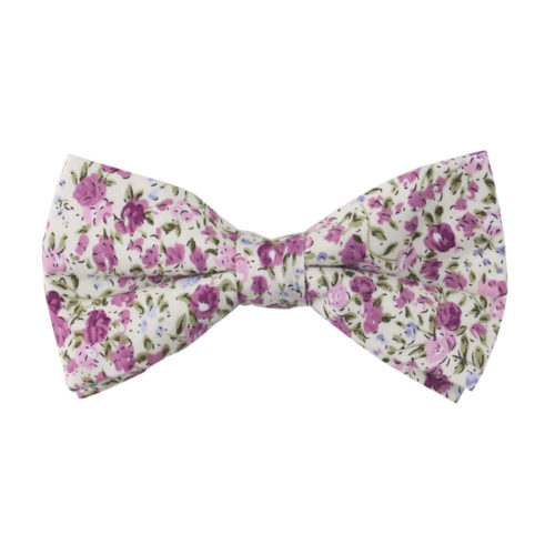 Pink Roses Floral Bow Tie for Groomsmen