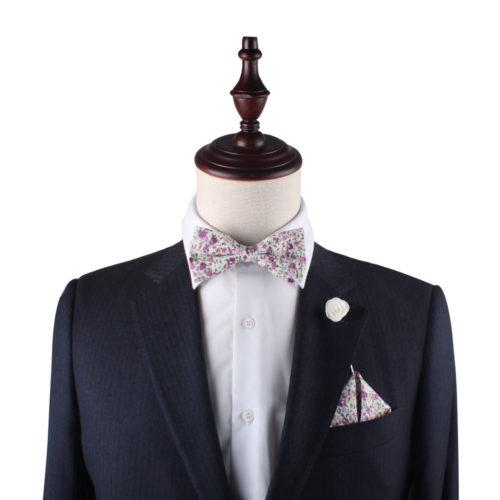 Pink Roses Floral Bow Tie and Pocket Square Sets for Him
