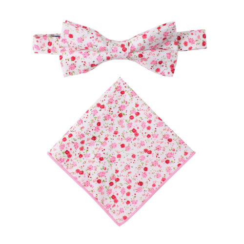 Tonal Pink Azalea Floral Bow Tie Pocket Square Set Groomsmens Wedding