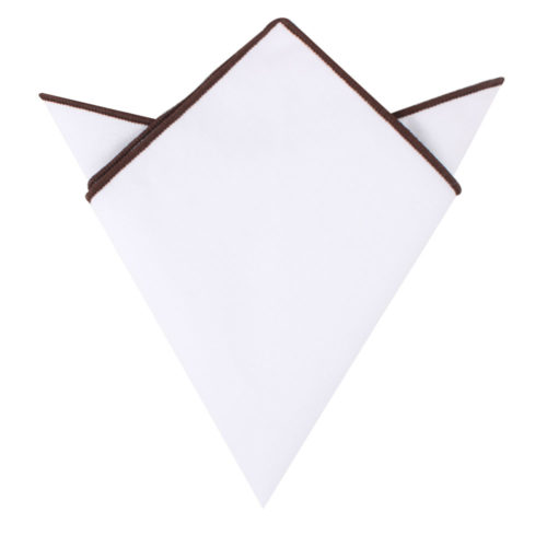 Brown Edge White Pocket Squares Australia