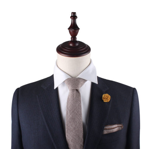 Brown Mini Houndstooth Tie and Pocket Square Sets