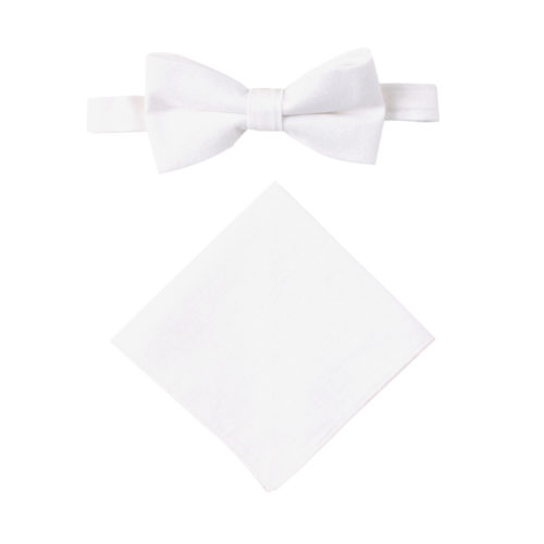 Classic White Bow Tie and Pocket Square Set Groomsmen Melbourne