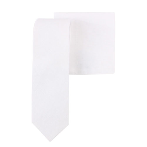 Classic White Tie and Pocket Square Set for Men