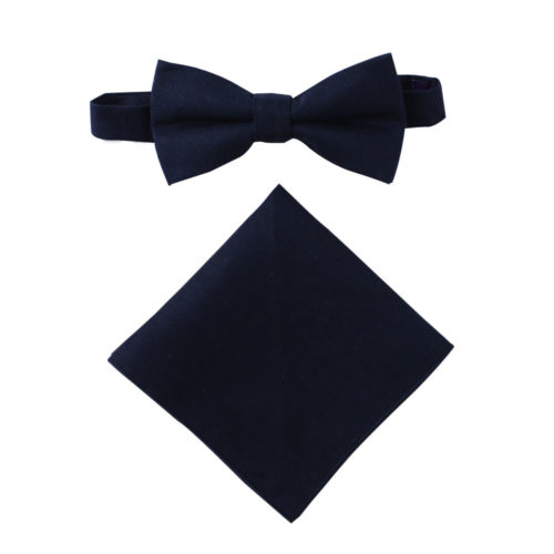 Dark Forest Navy Bow Tie & Pocket Square Set Groomsmen