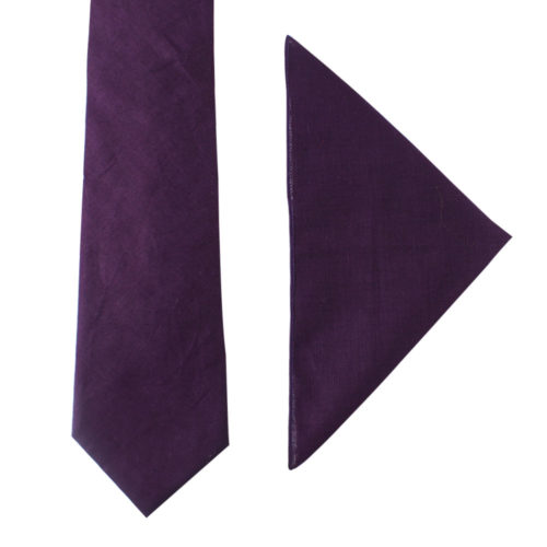 Dark Purple Tie and Pocket Square Set Groomsmen Weddings