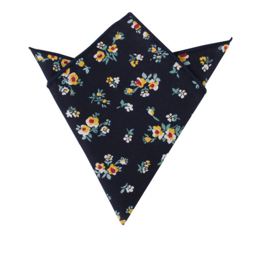 Floral Navy Yellow Pocket Square for Men
