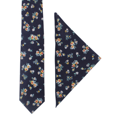 Floral Navy Yellow Tie & Pocket Square Set For Men