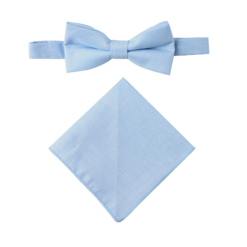 Light Blue Bow Tie & Pocket Square Combo Groomsmen Weddings