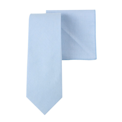 Light Blue Tie & Pocket Square Set Weddings