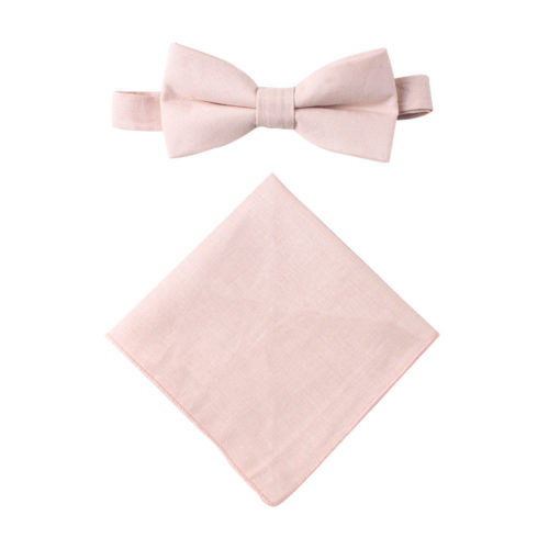 Light Pink Bow Tie & Pocket Square Set Groomsmen
