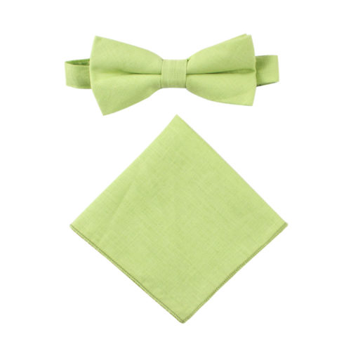 Lime Green Bow Tie & Pocket Square Set Groomsmen