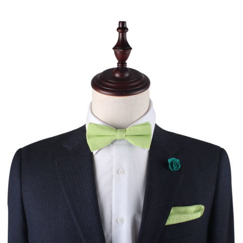 Lime Green Bow Tie & Pocket Square Set Wedding Grooms