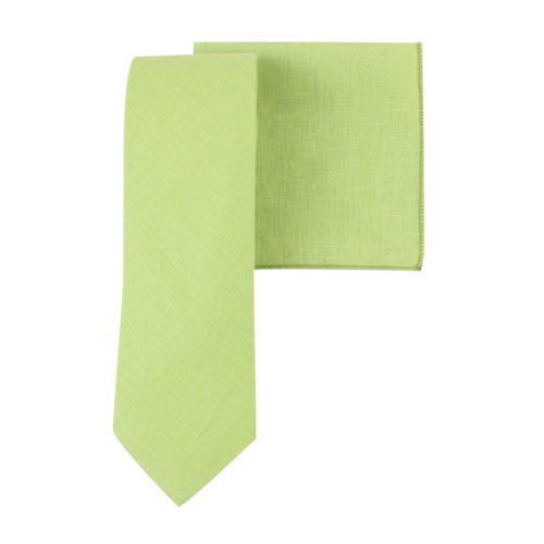 Lime Green Tie & Pocket Square Set Wedding Ties for Men