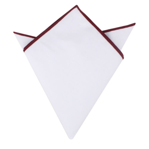 Maroon Edge White Pocket Square for Men Melbourne