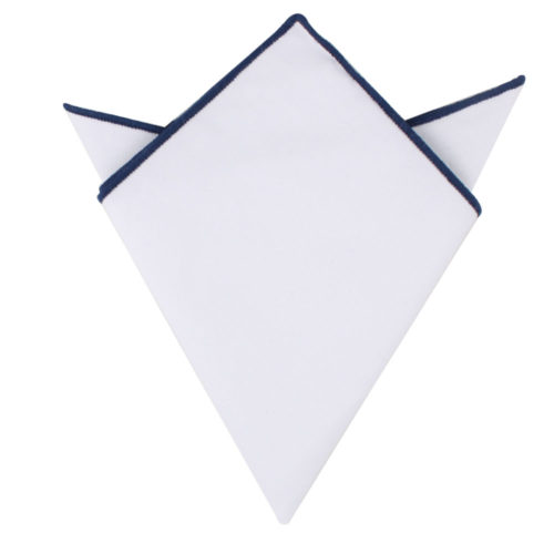 Navy Blue Edge White Pocket Square for Men