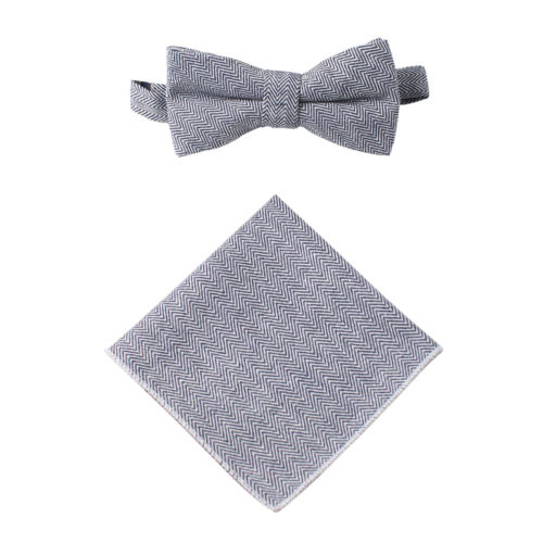 Navy Blue Herringbone Bow Tie & Pocket Square Set WeddingS
