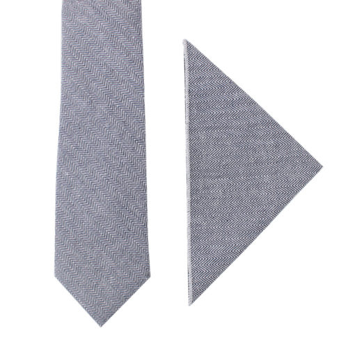 Navy Blue Herringbone Tie & Pocket Square Matching Sets