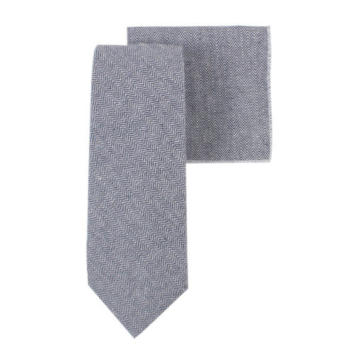 Navy Blue Herringbone Tie & Pocket Square Matching