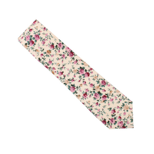 Pastel Pink Rose Floral Tie for Weddings