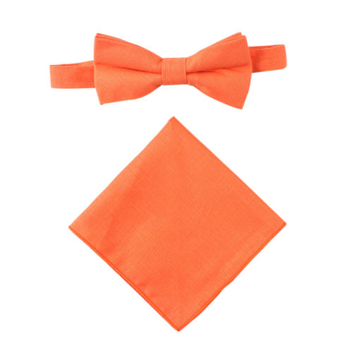 Peach Orange Bow Tie & Pocket Square Combo Online