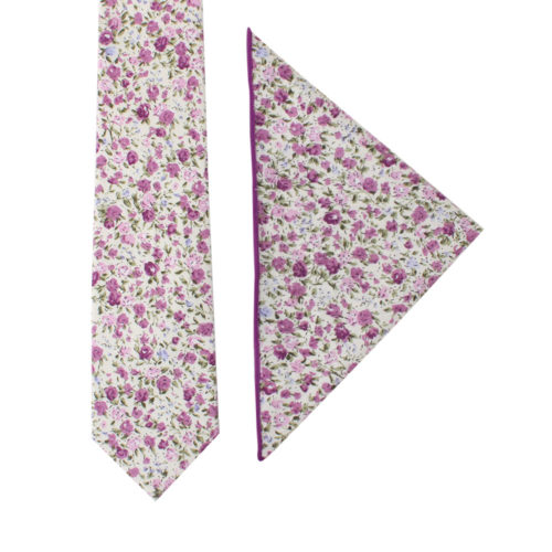 Pink Roses Floral Tie and Pocket Square Set for Groomsmen