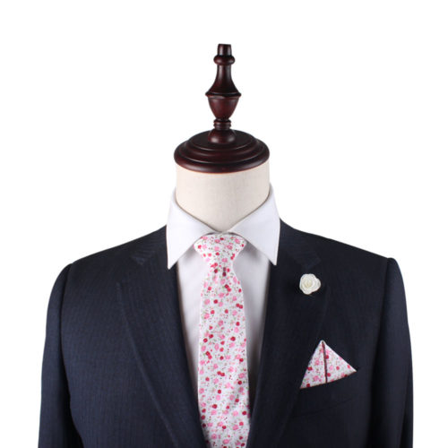 Tonal Pink Azalea Floral Tie and Pocket Square Combos for Men