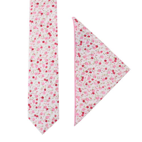 Tonal Pink Azalea Floral Tie and Pocket Square Set Weddings