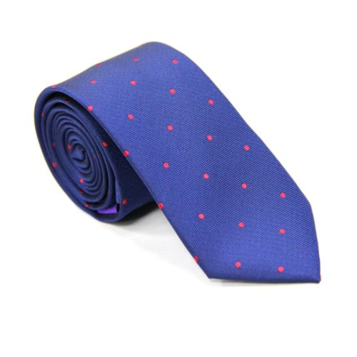 Red Polka Dot Navy Tie for Groomsmen